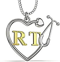 Caring Hands Gifts RT Respiratory Therapist Stethoscope Heart Necklace, RT Gift, RT Pendant