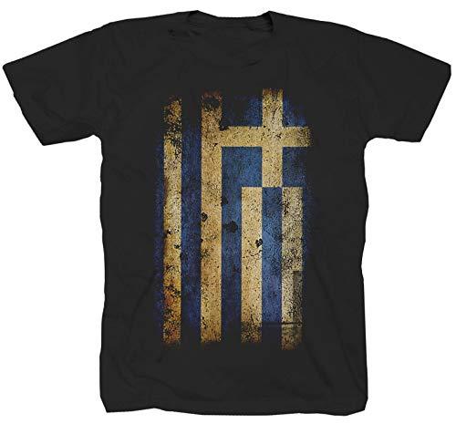 Griechenland Greece Athen Fahne Flag schwarz T-Shirt (XL)