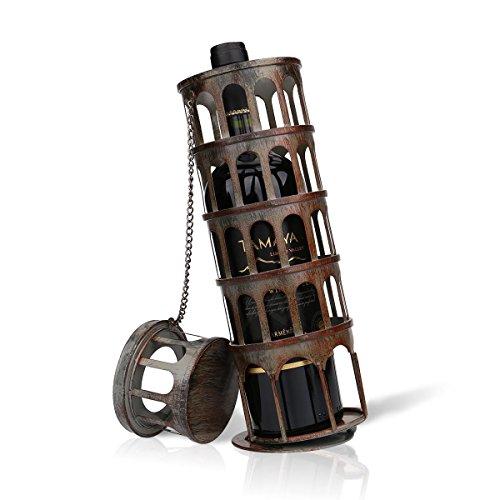 TOOARTS - Soporte de Vino - Torre de Pisa - Botellero del Estilo Metálico para la Decoración del Hogar Bar (Artesanía de Hierro)