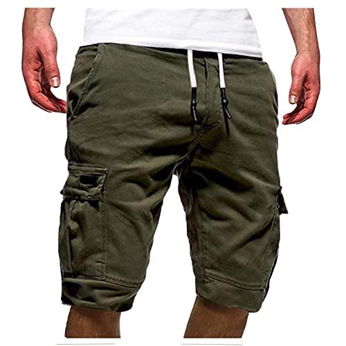 Cocila Cargo Kurze Hosen Herren Einfarbig Chino Jeans Bermuda Shorts Outdoor Taschen Gerade Tooling Shorts Sommer Freizeit Baggy Cargohose Streetwear