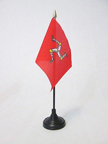 AZ FLAG Bandera de Mesa de la Isla DE Man 15x10cm - BANDERINA de DESPACHO MANÉS 10 x 15 cm Punta Dorada