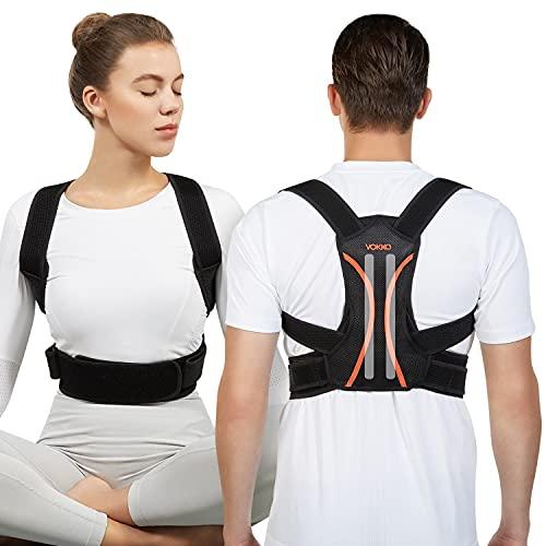 VOKKA Geradehalter, Haltungskorrektur für Männer und Frauen, voll anpassbare Wirbelsäule und Rückenstütze, atmungsaktive Unterstützung für Nacken, Rücken, Schultern, Schlüsselbein, Schwarz