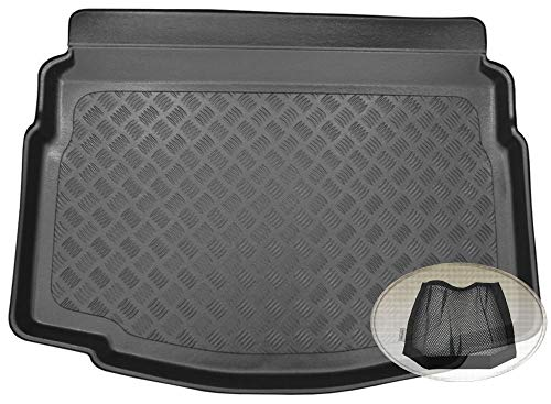 ZentimeX Z3322901 Geriffelte Kofferraumwanne fahrzeugspezifisch + Klett-Organizer (Laderaumwanne, Kofferraummatte)