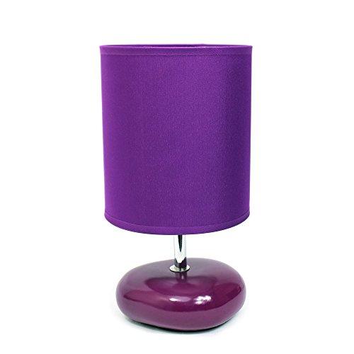Simple Designs LT2005-PRP Stonies Small Stone Look Bedside Table Lamp, Purple