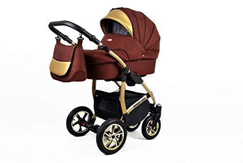 Cochecito de bebe 3 en 1 2 en 1 Trio Isofix silla de paseo Gold-Deluxe by SaintBaby Chocolate 3in1 con Silla de coche