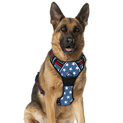 BARKBAY No Pull Dog Harness Large Step in Reflective Dog Harness with Front Clip and Easy Control Handle for Walking Training Running(Star,XL)