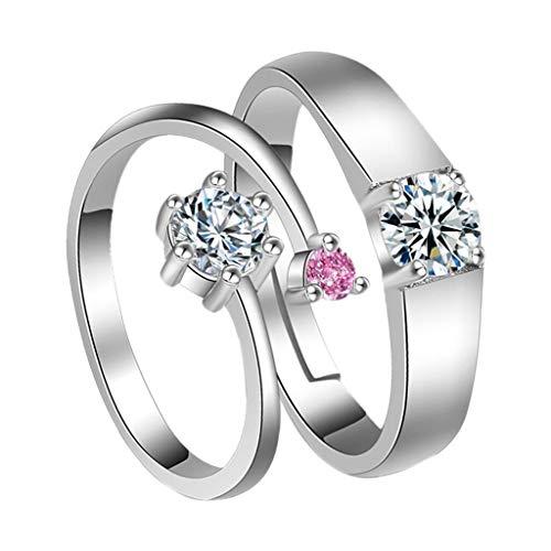 minjiSF Par de anillos abiertos con diamantes para hombre y mujer, plata de ley 925, estilo retro, moda anual, temperamento, amor, amuletos, joya de compromiso, anillo de compromiso (plata)