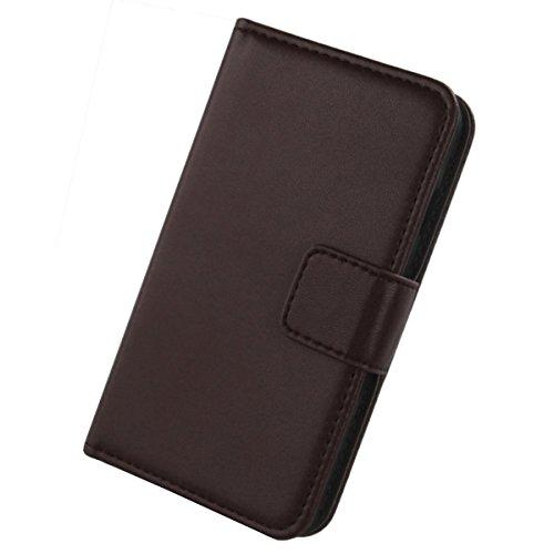 Gukas Design Echt Leder Tasche Für Kazam Th&er 345L Hülle Handy Flip Brieftasche mit Kartenfächer Schutz Protektiv Genuine Premium Hülle Cover Etui Skin Shell (Dark Braun)