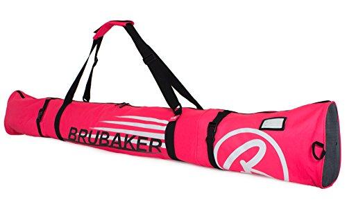Brubaker Skitasche Carver Champion gepolsterter Skisack für 1 Paar Ski und Stöcke 170 cm Pink Weiss