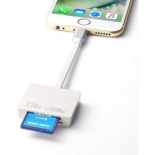 サンワサプライLightningカードリーダーmicroSD/SDカード対応ADR-IPLSDW