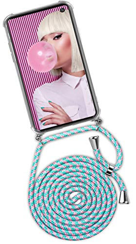 ONEFLOW® Handykette kompatibel mit Samsung Galaxy S10e - Handyhülle mit Band zum Umhängen Hülle Abnehmbar Smartphone Necklace - Hülle mit Kette, Mint-Grün Rosa