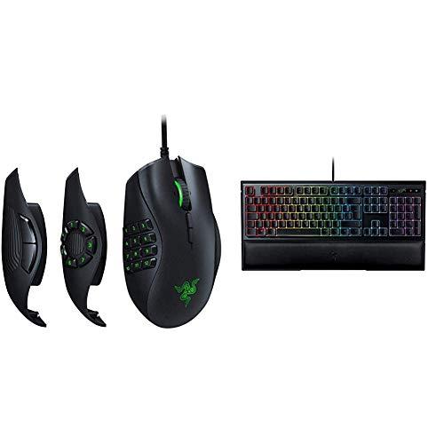 Razer Naga Trinity MOBA/MMO, Mouse da gioco, 3 Pannelli Laterali Intercambiabili & Ornata Chroma Tastiera USB Mecha-Membrane da Gaming, Supporto per Polsi Ergonomico