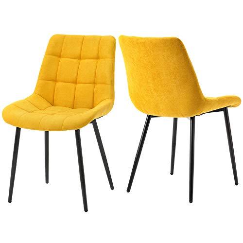 Keebgyy Juego de 2 sillas de comedor con cojín de tela, sillas auxiliares, sillas de oficina con patas de metal para comedor, sala de estar, cocina, color amarillo