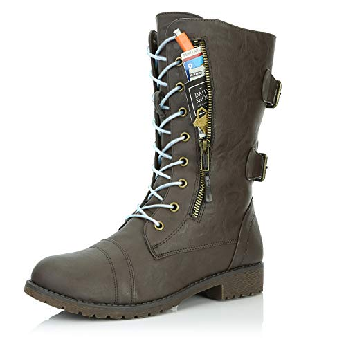 DailyShoes Tomb Raider Costume Women's Combat Bootie Ankle Mid Calf Zip Pocket Buckled Style Knee High Exclusive Credit Card Boots Brown,pu,5, Shoelace Gray