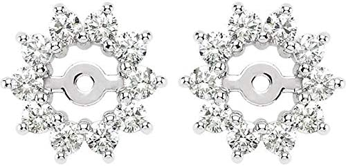 Award 14K White Gold 5 8 CTW Diamond ID Max 71% OFF 3.7mm Earring Jackets with Hal