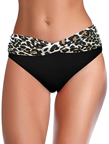 SHEKINI Damen Bikini Hose Raffung Bauchweg Badehose V from Eleganz Strandhose Grosse Grössen XXL für Frauen (S, Schwarzer Leopard)