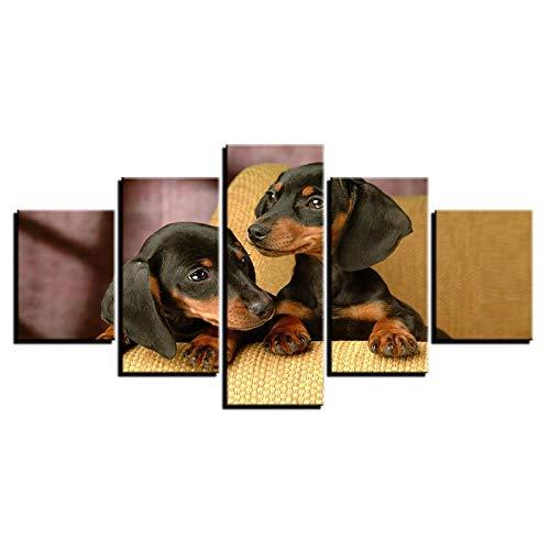 ARXYD Leinwand Poster Wohnkultur Für Wohnzimmer Hd-Drucke Bilder 5 Stück Dackel Hunde Rasse Gemälde Modulare Wandkunst 150X100Cm - Kunstwerk Bilder Für Zuhause Büro Moderne Dekoration