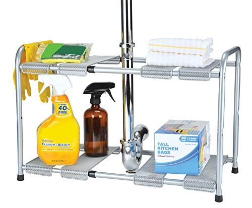 Frigidaire Expandable 2 Tier Rack Under Sink Organizer for Bathroom and Kitchen