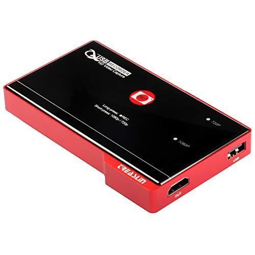 TreasLin Game Capture Card Kein PC, Bildschirmrekorder, USB3.0 HDMI 1080P 30fps Videoaufnahmegerät, One-Click-Aufnahme, kompatibel mit TV-Box Xbox One PS4 Wii U Nintendo Switch School-Vorlesungen