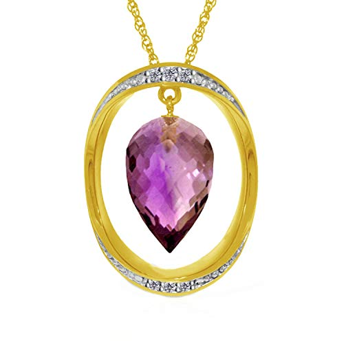 Briolette Pointy Drop Amethyst Necklace by Galaxy Gold
