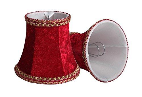 splink 2 Pcs Lampenschirm E12/E14 Organza Stoff Stehlampe Tischlampenschirm mit Gold Trim Vintage Barockstil Stil 80 * 120 * 110mm