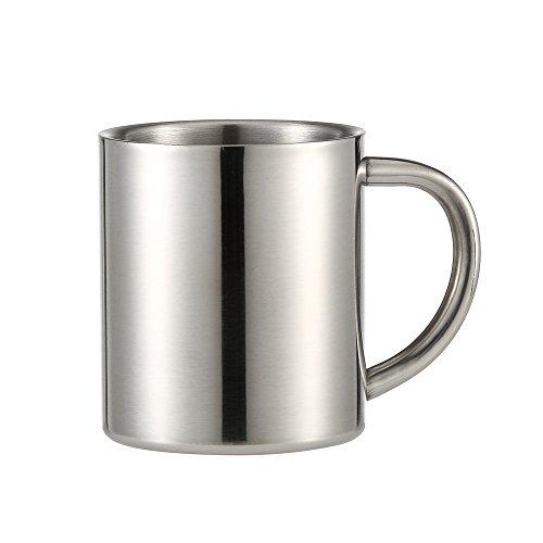 VNEIRW Edelstahlbecher Edelstahltasse Edelstahl Becher,Kaffeebecher Kaffeetasse mit Griff aus Edelstahl,220ml (Silber)