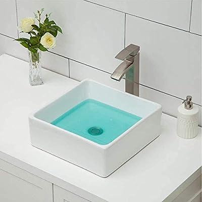 Logmey 15''x15'' Square Bathroom Vessel Sink Above Counter White Porcelain Ceramic Vanity Sink Art Basin