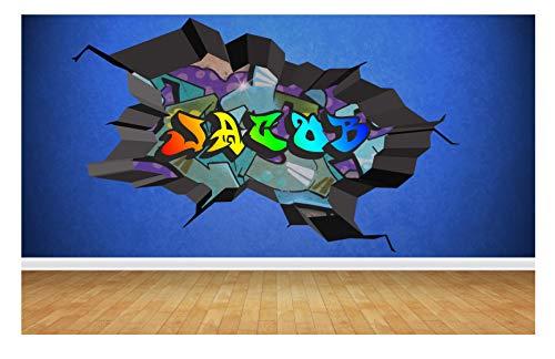 95 cm x 58 cm mehrfarbiger personalisierter 3D-Graffiti-Name, gebrochenes Wandtattoo
