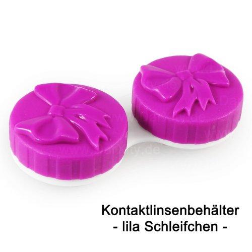 Lila Kontaktlinsenbehälter mit süßem Schleifchen zur Aufbewahrung aller gängigen Kontaktlinsen, in 6 verschiedenen Farben erhältlich
