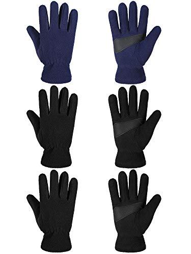 3 Paare Kinder Winter Warme Handschuhe Weiche Polar Vlies Handschuhe Kaltes Wetter Warme Fäustlinge für Jungen Mädchen (Schwarz, Marineblau, M)