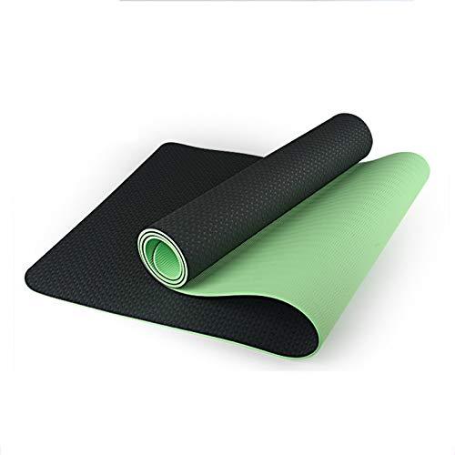 WXHXSRJ Esterilla de yoga,respetuosa con el medio ambiente de TPE alineación,esterilla de yoga,doble capa,antideslizante,resistente al desgarro,para yoga,pilates y gimnasia,verde oscuro + verde claro
