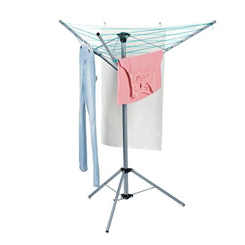 Relaxdays Wäschespinne, 15 m Leine, für Garten & Camping, klappbar, mit Standfuß, Balkon Wäscheschirm H: 140 cm, Silber