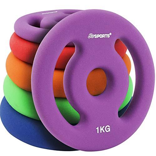 ScSPORTS Hantelscheiben Neopren mit Griffen, 2 kg Set: 2 x 1 kg, Guss Gewichte, 30/31 mm Bohrung, Lila