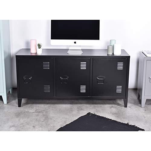 FURNISH 1 Armario de metal grande de 2 capas, 3 puertas de metal para oficina con puertas de metal, armario de almacenamiento con estantería, armario bajo, 120 x 40 x 58 cm
