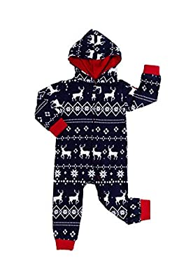 Tipsy Elves Baby Blue Fair Isle Cozy Christmas Jumpsuit One Piece Pajamas - Cozy Infant PJ's for Christmas: 12-18M