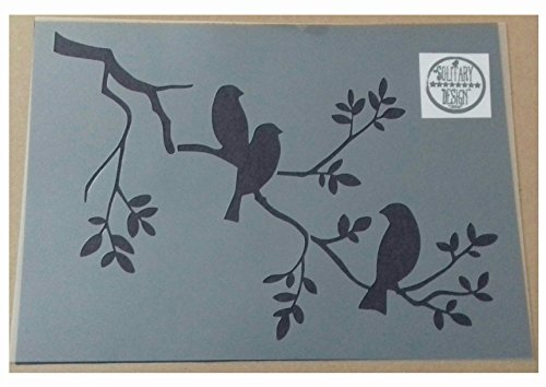 Shabby Chic Schablone 3Vögel auf Ast Rustikal Mylar Vintage A4297x 210mm Art Wand
