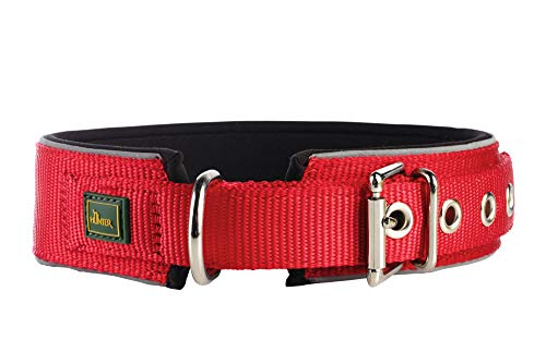 HUNTER NEOPREN REFLECT Hundehalsband, Nylon, Neopren gepolstert, reflektierend, 55 (M-L), rot/schwarz