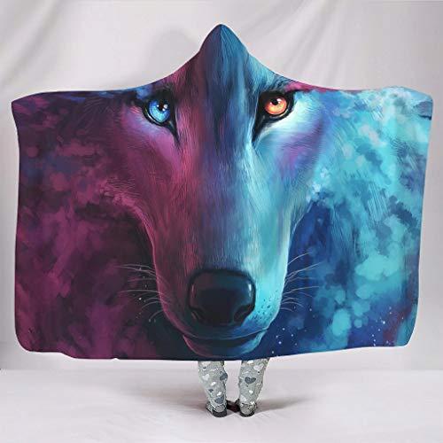 Fineiwillgo Manta con capucha y cara de lobo, color rojo y azul, supersuave, cálida, para el salón, para mujer, sofá o sillón, color blanco, 150 x 200 cm
