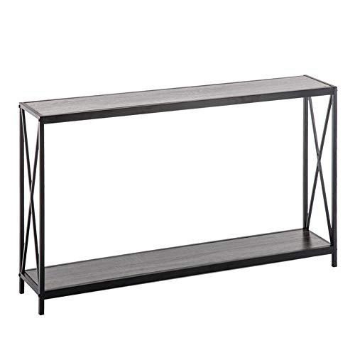 Triamine Board Cross Iron Frame Porch Table Sofa Side Table Living Room Table Wood Grain Panel (Gray)