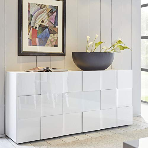 Tousmesmeubles Buffet 3 Portes Laqué Blanc Brillant - TICATO - L 181 x l 43 x H 84 - Neuf