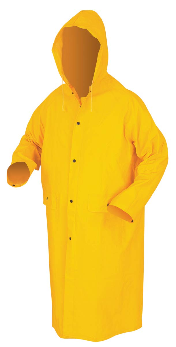 MCR Safety 200CL Classic PVC-Coated Raincoat, Large, Yellow, one Size
