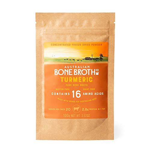 Beef Bone Broth Concentrate Powder -Turmeric - Freeze-Dried Powder Rich in Collagen Protein, Amino acids. Instant Healthy Beverage. 100 Gram Made in Australia