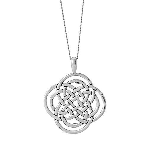 Silverly Men's Women's .925 Sterling Silver Celtic Dara Knot Medallion Pendant Necklace, 18'