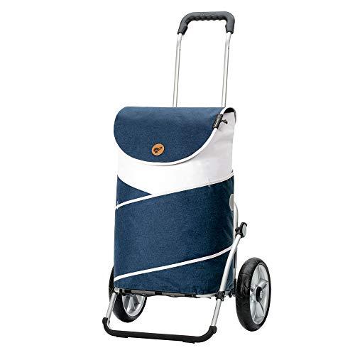 Andersen Shopper Royal mit Kugellager Alu klappbar mit Kugellagerrad Ø 25cm und 41 Liter Tasche Jarl blau