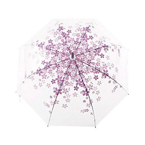 LIKEZZ Schöne Transparente Kirschblüte Frische Regen Sonnenschirm Langer Griff Pilz Prinzessin Romantic Umbrellas, Lila