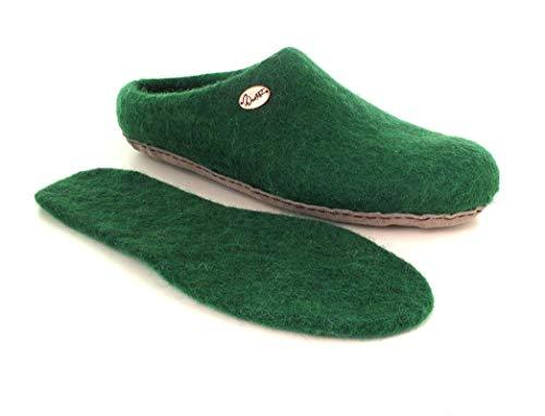 WoolFit Vario - handgefilzte Hausschuhe aus 100% Wolle - Filz-Pantoffeln mit Einlegesohle, dunkel grün, Größe 40