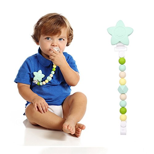 Fits All Pacifiers /& Baby Teething Toys and KLVOE Wood Pacifier Clip Teething Relief Teether Chewbeads Birthday Christmas Shower Gift