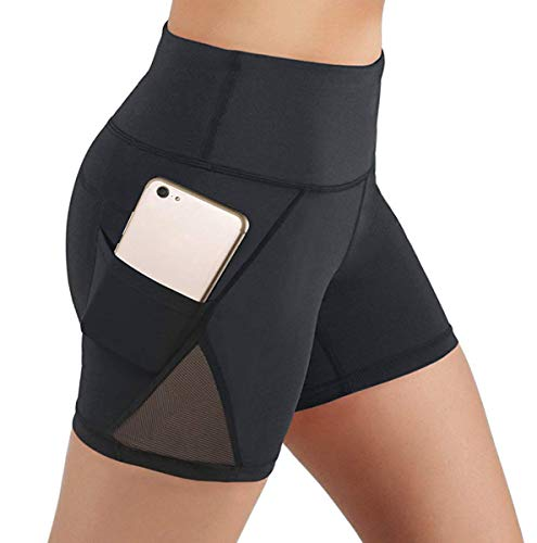 Silinggy Womens Mesh Shorts Workout Yoga Pants Running with Side Pocket Small Black