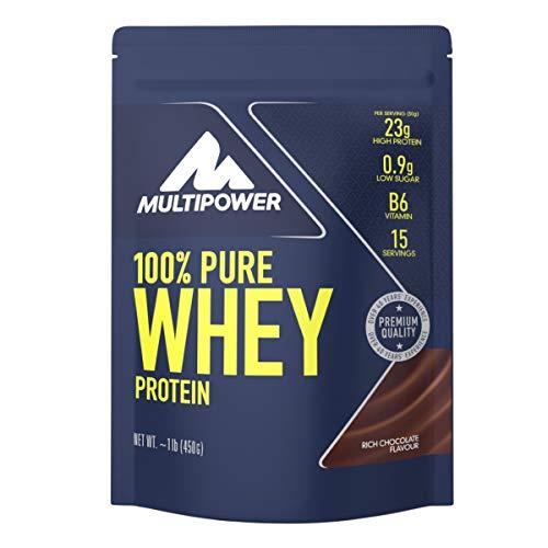 Multipower 100% Pure Whey Protein – wasserlösliches Proteinpulver mit Schokoladen Geschmack –  Eiweißpulver mit Whey Isolate als Hauptquelle – Vitamin B6 und hohem BCAA-Anteil – 450 g
