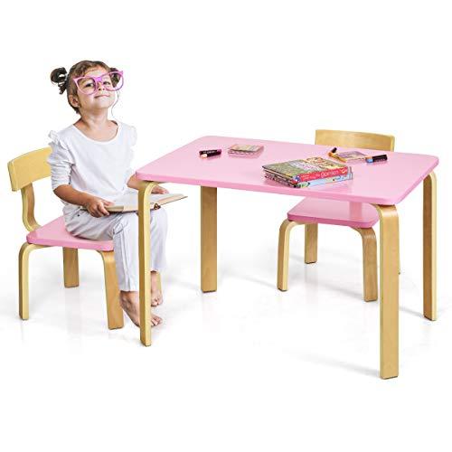 GOPLUS Kindersitzgruppe aus Holz mit 1 Kindertisch und 2 Stühle, Kindermöbel mit Abgerundeten Ecken und Kanten, Kinder Tisch und Stühle für Zuhause, Klassenzimmer, Kindergarten (Rosa)